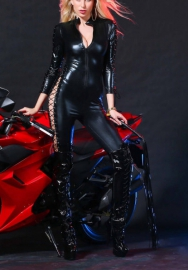 Catwoman Costume Women Sexy PVC Latex Catsuit Long Sleeve Front Zipper Bodysuit Faux Leather Jumpsuit PU Leather Lingerie