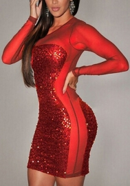 Women's Lingerie Sequin Satin Strap Mesh Lace Gown Dress