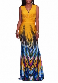 Women's Summer Casual Floral Print Sexy V-Neck Sleeveless Long Stretch Bodycon Party Maxi Dress