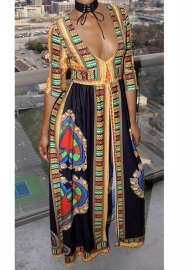 Women Casual Half Sleeve Africa Pattern Ethnic Print Party Club Split Long Dress