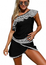 Women One Ruffle Shoulder Monochrome Jungle Tankini Swimsuits with Bottoms S -XL Plus Size