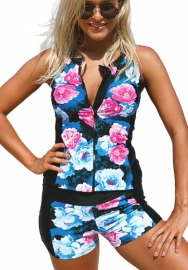 Women Floral Tankini Bathing Suits with Shorts Front Zip Sporty Swimsuits