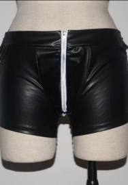 Men's Wetlook Faux Leather Lace up Shorts Pants Jockstrap Underwear