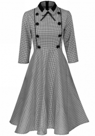 Women's Long Sleeve Lapel Plaid Button Skater Dress A-Line Dress