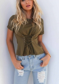 Women's Lace Up Waist Round Neck Short Sleeve Casual T Shirt Blouse Tops