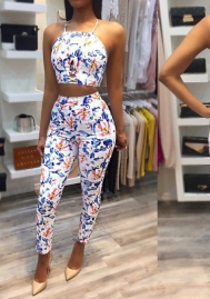 2 Piece Outfits for Women Summer Sleeveless Crop Top with Long Pants Set
