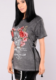 Womens Rose Embroidery Short Sleeve Hole T-shirt Tops