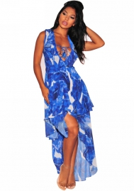 Women's Sexy Boho Spaghetti Strappy V-neck Printed Irregular Chiffon Dress