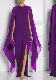 Sexy Cloak Poncho Cape Style Chiffon Long Maxi A Line Dress With Front Slit