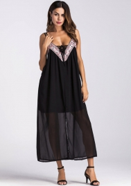 Women's V-neck Empire Waist Maxi Dress Spaghetti Strap Faux Wrap Long Dress