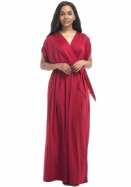 Women's Solid V-Neck Sleeveless Plus Size Evening Party Maxi Dress