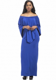 Women's Solid Color Off Shoulder Casual Party Maxi Dress