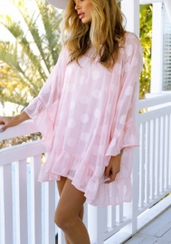 Women's Polka Dots Long Sleeve Chiffon Dress Top