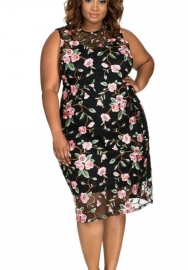 Womens Mesh Splice Floral Embroidery Plus Size Elegant Mid Dresses