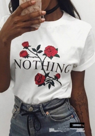 Women Summer NOTHING Rose Print Short Sleeve Top Tee Graphic Cute T-sh