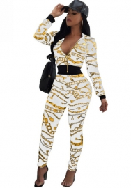 Women's 2 Pieces outfits Floral Prints Bodycon Sweatsuits Set Tracksuits