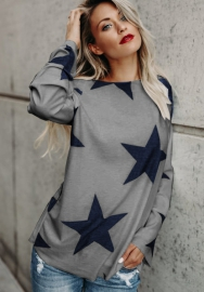 Women's Off Shoulder Belled Long Sleeve Star Print Shirts Casual Blouse Tops
