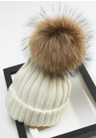 Women Knit Slouchy Bobble Cap Unisex Winter Beanie Hat with Fur Ball Pom