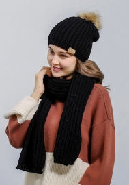 Womens 2-piece Cable Knitted Visor Beanie Scarf and Hat Set