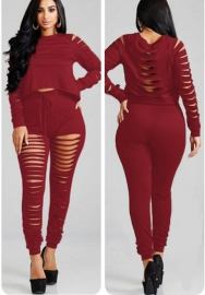 Womens Casual Drawstring Crop Top Ripped and Pants Jumpsuits