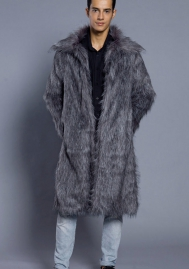 Men Winter Warm Long Sleeve Faux Fur Coat Jacket Vest Waistcoat Overcoat