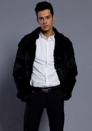 Men's Long Sleeve Faux Fur Jacket Hook & Eye Closed Luxury Coat Parka