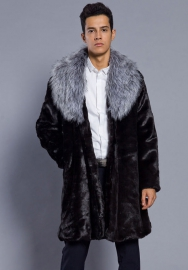 Men's Slim Fitted Fur Stitching Coat Long Sleeve Winter Jacket