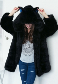 Women's Open Front Hoodie Cardigan Fluffy Long Jacket Coat