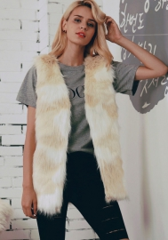 Women's Faux Fur Vest Long Hair Open Front With Hook Short Waistcoat Vest