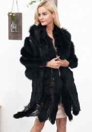 Women's Party Faux Fox Fur Long Shawl Cloak Cape Coat