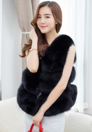 Women's Warm Long Faux Fox Fur Vest Waistcoat Sleeveless Jacket Coat