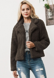Womens Fluffy Faux Fur Long Sleeve Warm Coat Outwear