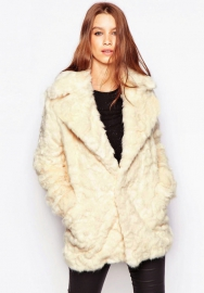 Women's Embossed Mid Length Winter Warm Faux Fur Coat Jacket