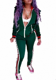 Women's 2 Pieces outfits Long Sleeve Zipper Jacket and Pants Sweatsuits Tracksuits
