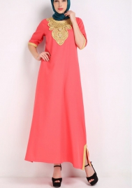 (Not Scarf) Womens Muslim Short Sleeves Round Neck Kaftan Islamic Maxi Dress