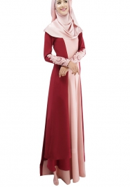 (Not Scarf) Womens Muslim Long Sleeve Maxi Dress Plus Size