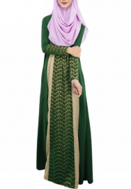 (Not Scarf) Women's Long Sleeve Stitch Islamic Muslim Full Length Dress