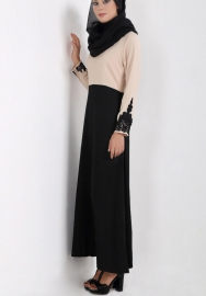 (Not Scarf) Womens Muslim Chiffon Long Sleeves Abaya Party Dress