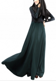 (Not Scarf) Womens Long Sleeve Muslim Dubai Swing Lace Abaya Kaftan Dress