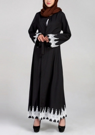 (Not Scarf) Women's Long Sleeve Simple Muslim Abaya Long Dress