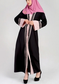 (Not Scarf)Women Muslim Lace Splicing Long Sleeve Club Maxi Dress
