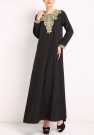 (Not Scarf) Womens Muslim Long Sleeve Party Dress Plus Size