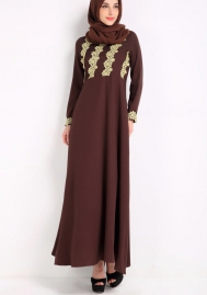 (Not Scarf)Women Long Sleeve Lace Patchwork Muslim Abaya Gown Dress