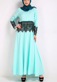 (Not Scarf)Womens Long Sleeve Muslim Lace Stitching Casual Long Party Dress