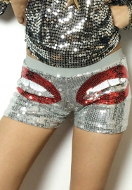 Women's Mouth Printed Sparking Sequin Detail Shorts