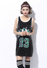 Womens Fashion Sparkle Glitter Sequins Paillette Hip Hop Shirt Tank Top Clubwear