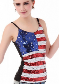 Women Sling Sleeveless Slim Flag Classic Sequin Club Vest Pullover