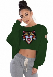 (Only Top) Women Tiger Embroidery Cut Holes Loose Pullover Sweatshirt Crop Top