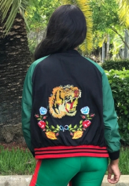 Women' Tiger Embroidery Baseball Bomber Jacket