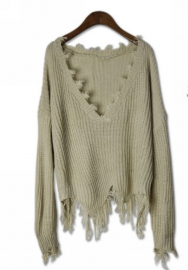 Women's Ripped V Neck Fringe Knit Pullover Short Sweater Crop Top